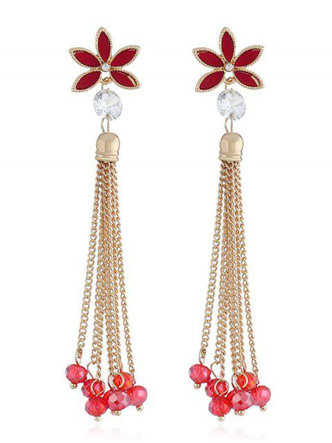 Pendientes borla de cadena con cuentas de diseño floral - Rojo  Mobile