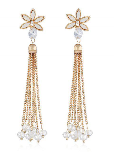 Pendientes borla de cadena con cuentas de diseño floral - Blanco  Mobile