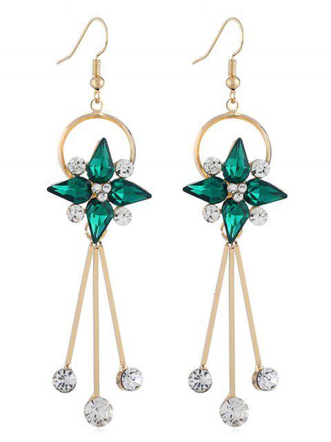 best Floral Shape Rhinestone Tassel Hook Earrings - GREEN  Mobile