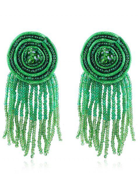 unique Bohemian Beaded Tassels Earrings - BEETLE GREEN  Mobile