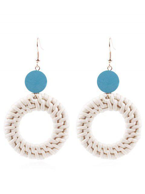 Circle Straw Drop Earrings - Azul de Koi  Mobile