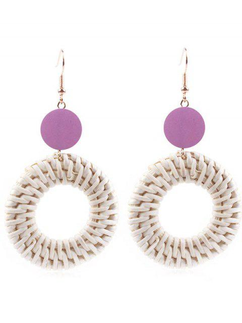 Circle Straw Drop Earrings - Púrpura Oscuro  Mobile