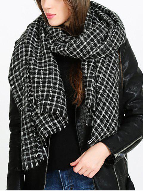 fancy Fringe Trim Tartan Blanket Shawl Scarf - JET BLACK ONE SZIE Mobile
