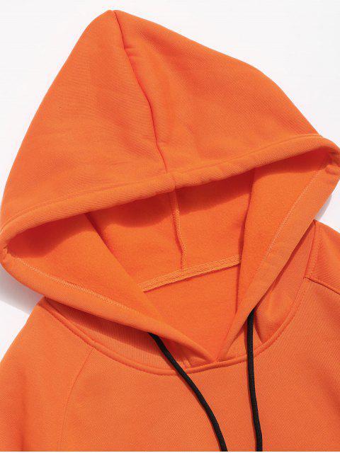 shops Raglan Sleeve Buildings Print Hoodie - PUMPKIN ORANGE L Mobile