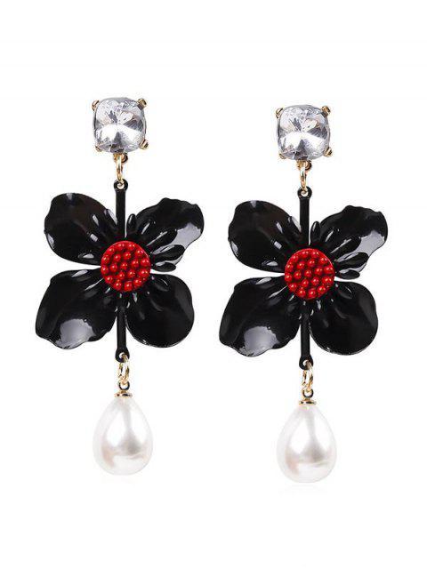 Pendientes colgantes de perlas de flor - Negro  Mobile