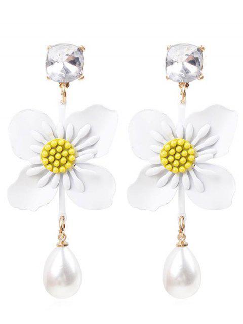 Boucles d'Oreilles Fleur Fausse Perle - Blanc  Mobile