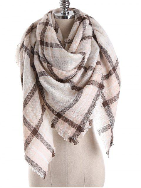 shop Checked Wrap Shawl Blanket Winter Scarf - MULTI-D ONE SZIE Mobile