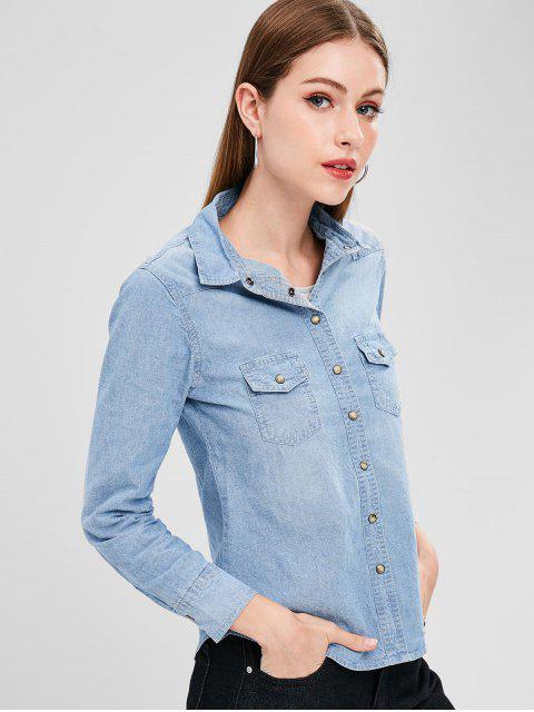 Camisa Chambray de botón a presión - Azul de Jeans  XL Mobile