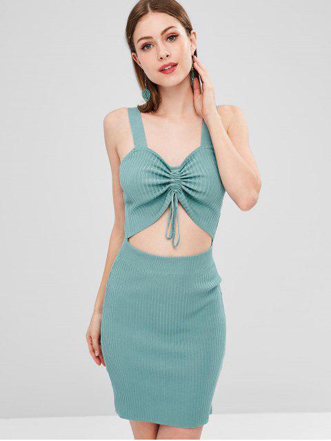 Catched Ausgeschnittenes Pullover Kleid - Dunkler Türkis Eine Größe Mobile