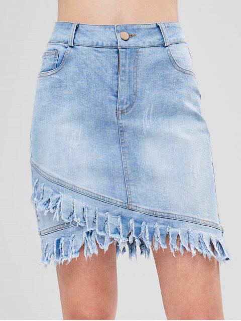 Asymmetrischer Jeansrock Mit Fransen Saum - Jeans Blau L Mobile