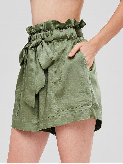 Short Lâche Ceinturé à Volants - Vert Armée L Mobile