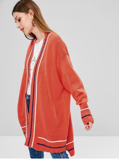 outfit Striped High Low Longline Cardigan - ORANGE ONE SIZE Mobile