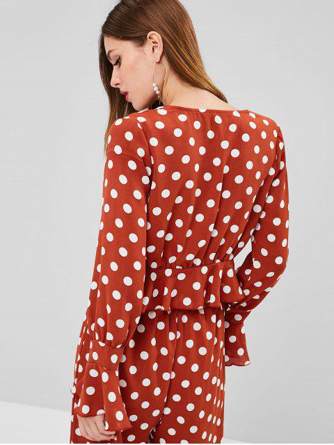 sale Ruffles Tie Front Polka Dot Top - CHESTNUT RED M Mobile
