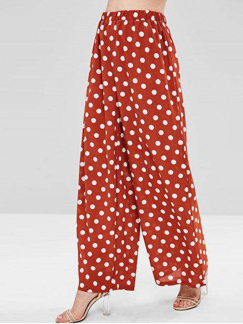 Polka Dot Wide Leg Pants - Castaño Rojo L Mobile
