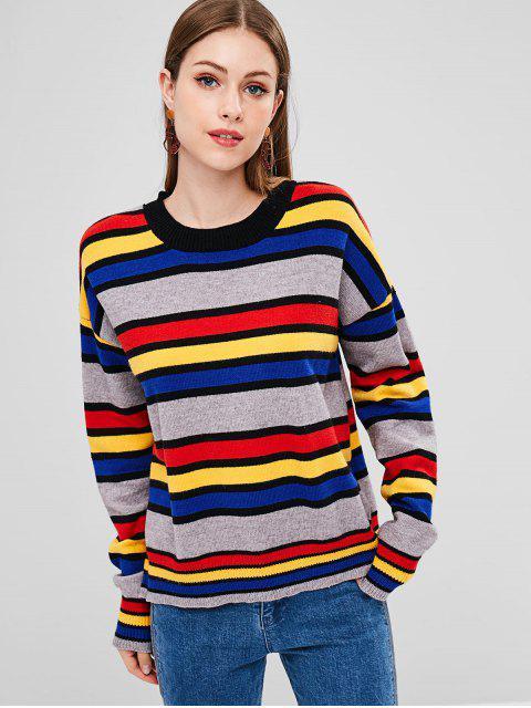 Suéter Gola Assimétrica com Bloco de Cor - Multi Um Tamanho Mobile