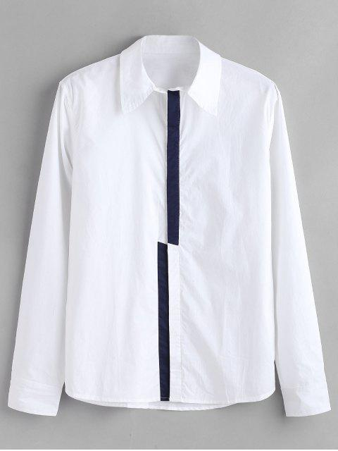 hot ZAFUL Color Block Concealed Placket Shirt - WHITE 2XL Mobile