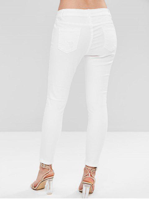 new Ripped Ankle Skinny Jeans - WHITE L Mobile