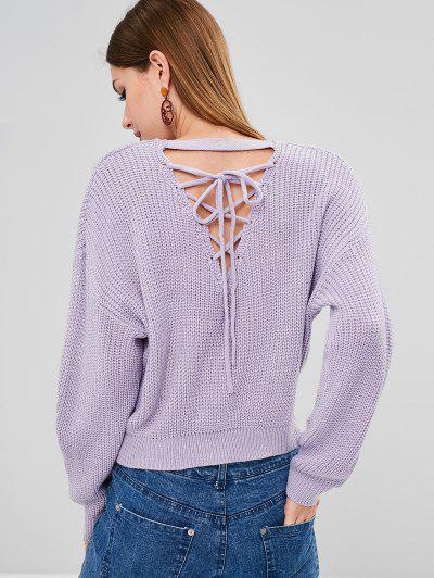 45433b2c7f Back Lace Up Chunky Knit Weater - Lavender Blue