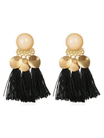 Bohemian Disc Tassels Earrings - Black
