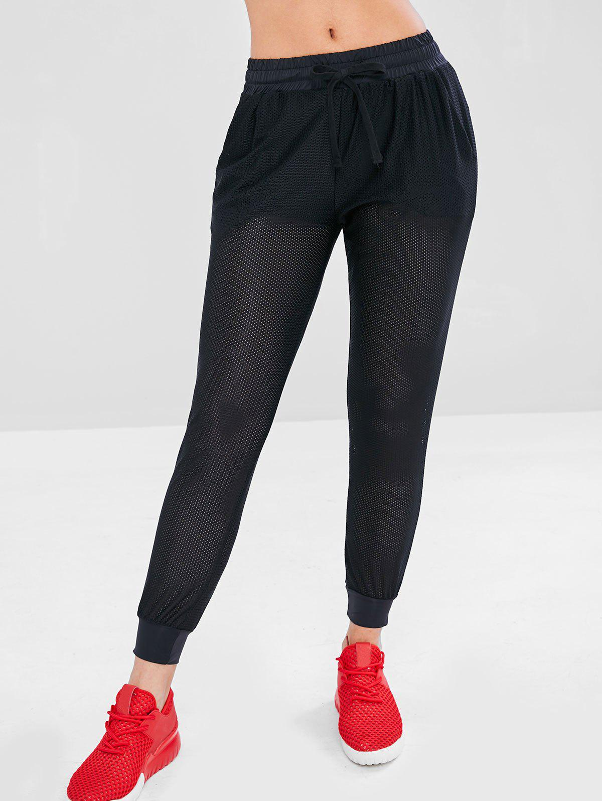 Perforated Sports Pants with Short Lining, Black