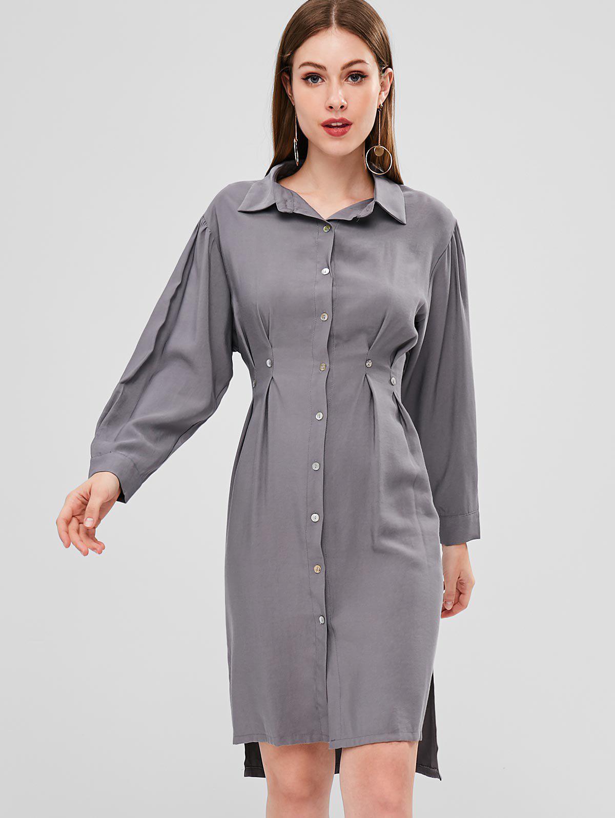 High Low Slit Shirt Dress