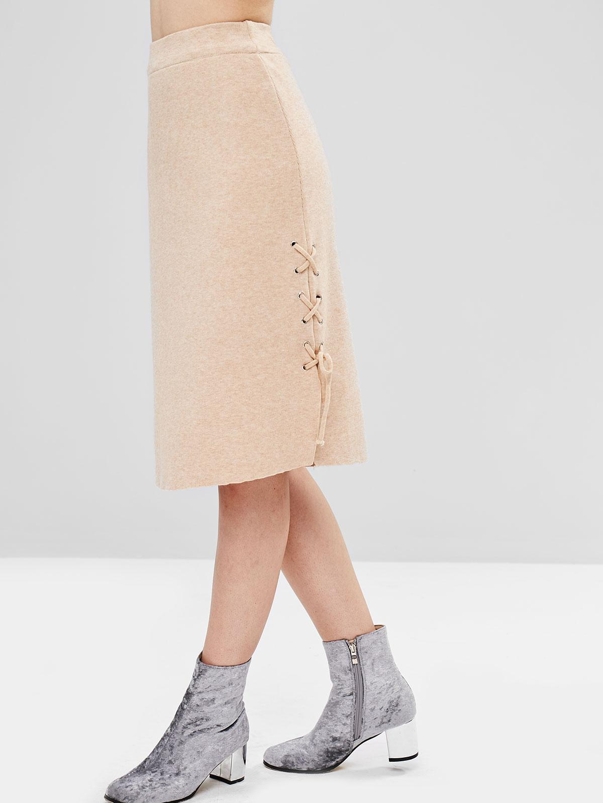 Lace-up Knit Skirt