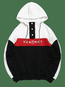 Hoodie Botones Design Negro Print L Letter Contraste rOSqwOI