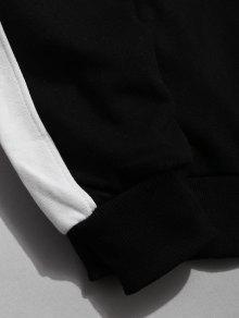 Letter L Hoodie Print Contraste Botones Negro Design FxHqwqa5