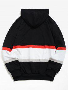 Rayas Contraste Negro Letter Sudadera Con Print Capucha L ZSWqqEFw1R