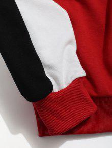 Rojo Con Capucha Cremallera M Manga Con Ragl Bolsillos Sudadera Contraste De 225;n SCxnwUq