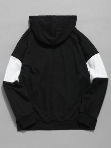 Negro Chest Block Capucha De Letter Con M Bolsillo Color Sudadera fF8q6xp