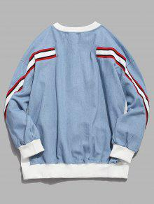 Denim Sudadera Drop Shoulder Azul Striped Pullover M wx8Xaa
