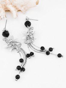 1346a697fb794e 13% OFF] 2019 Rhinestone Flower Beads Tassel Long Hanging Earrings ...