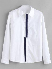 ZAFUL لون كتلة بلاكيت قميص - أبيض S