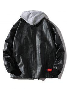 Chaqueta S Desmontable Artificial De Casual Cuero Negro wPq6Ow