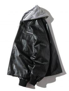 Negro Chaqueta Artificial S Casual Cuero Desmontable De SawaUqxHX