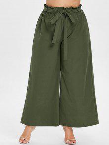Y Verde Ancha Con Culotte Ancha Pantalones Pierna Cintura L Ejercito 8xqOpIwngw