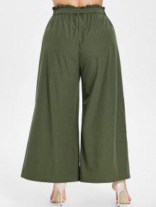 Verde Ancha Ancha Ejercito Con L Y Cintura Pantalones Pierna Culotte nxwt8Yq7vO