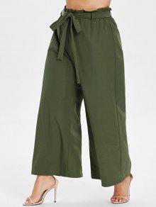 بالاضافة الى حجم واسع الساق سروال Culotte مربوط - الجيش الأخضر 2x