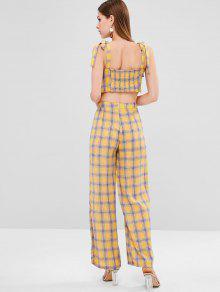 225;n De Tart S Brillante Pantalones Con Conjunto De Adornos Amarillo RvI6qxw