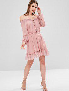 Vestido Hombro Borlas Rosa Ahumado Khaki De S Con RUqwRx76