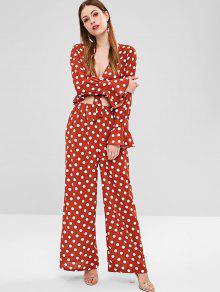 1d04a9d98236 44% OFF] 2019 Polka Dot Wide Leg Pants In CHESTNUT RED   ZAFUL