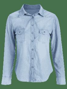 243;n Presi De M Bot Chambray De Azul A Camisa Jeans 243;n XYTxRUUn