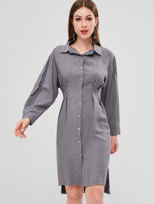 فستان بنمط قميص - رمادي Xl