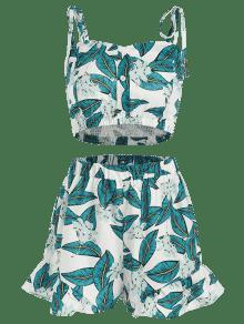 S De Leaves Multicolor Shorts Top Conjunto Smocked Y 0UTZxZ