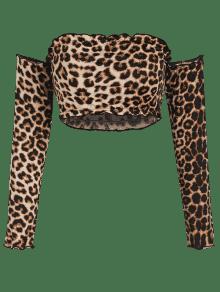 Top Leopardo S ZAFUL Tube Leopard Crop Top Sleeve Txw1TqSf