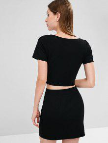 Camiseta Falda A De Cuadros ZAFUL Negro M Conjunto Y 6wCStntq