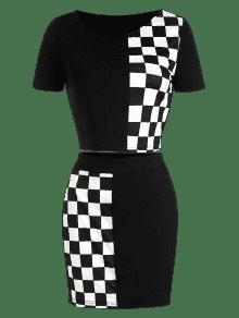 ZAFUL Falda De Y Cuadros Conjunto Camiseta A M Negro PYxwYnZ