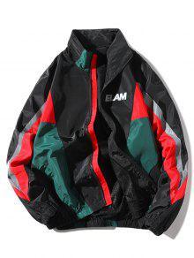 بالاضافة الى حجم اللون كتلة مائل جيب سترة Windproof - أسود 1xl