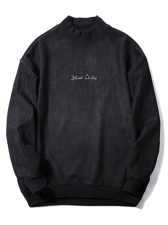 fancy Chest Letter Print Solid Color Suede Sweatshirt - BLACK S